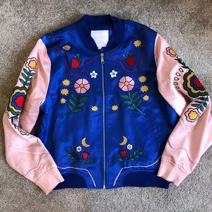 Embroidered pink and blue bomber jacket